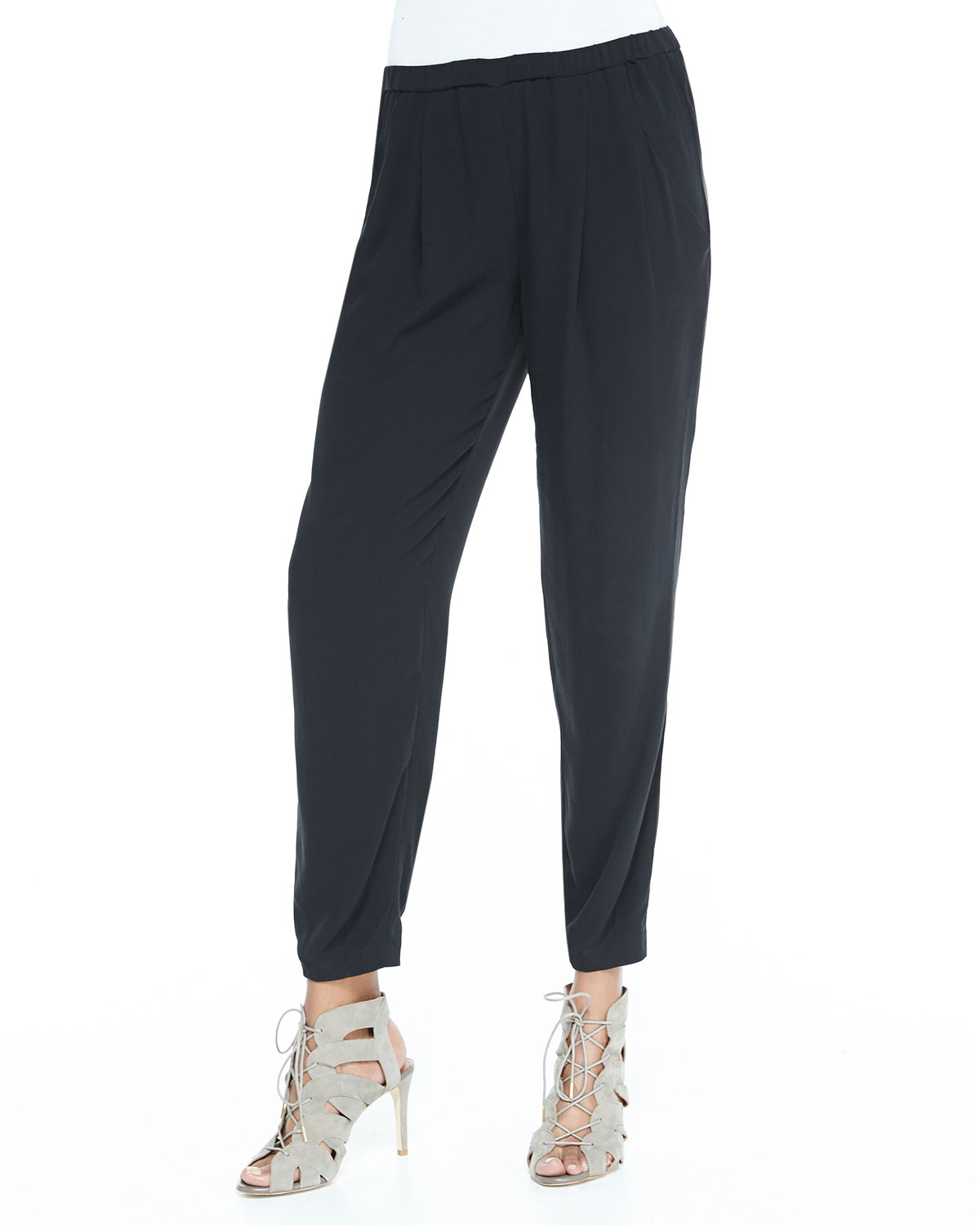 Eileen fisher Slouchy Silk Ankle Pants in Black | Lyst