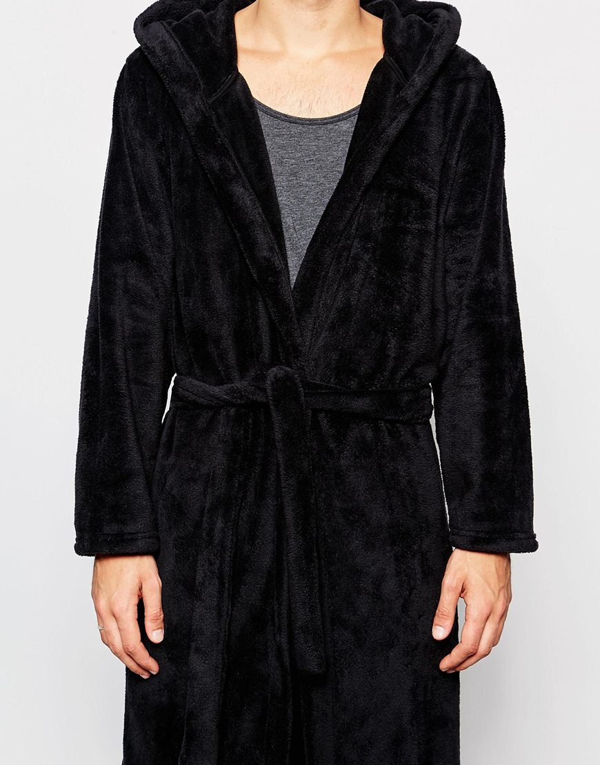 Lyst - Asos Loungewear Dressing Gown In Fluffy Fabric in Black for Men