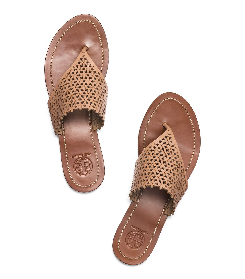 64dfa387bcf9 Lyst - Tory Burch Floral Perforated Flat Thong Sandal in Natural