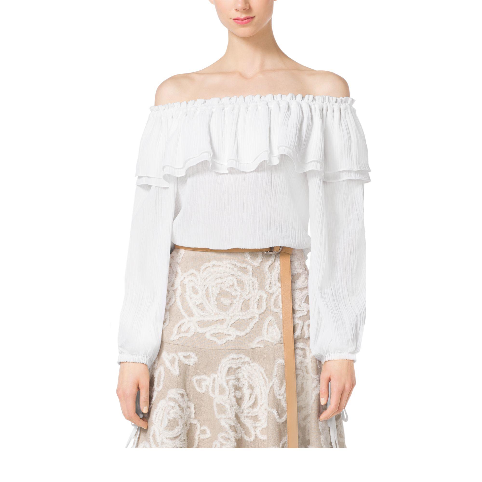 4e829f9c5cf Michael Kors Off-the-shoulder Cotton-crépon Blouse in White - Lyst