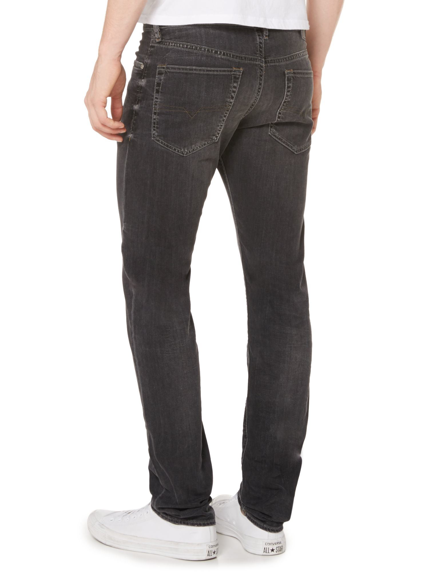 diesel buster 669f tapered fit stretch jeans in gray for men lyst. Black Bedroom Furniture Sets. Home Design Ideas