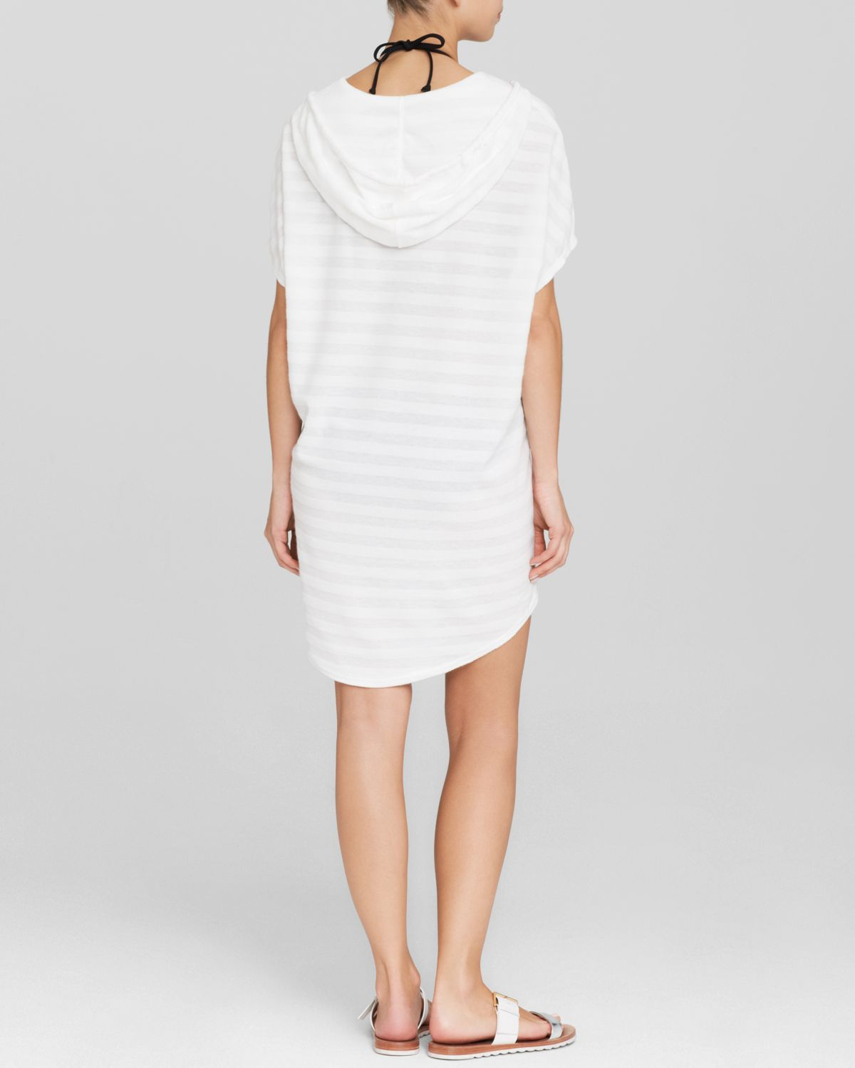 5a2e743624 Lyst - J Valdi Hooded Swim Cover Up Top With Kangaroo Pocket in White