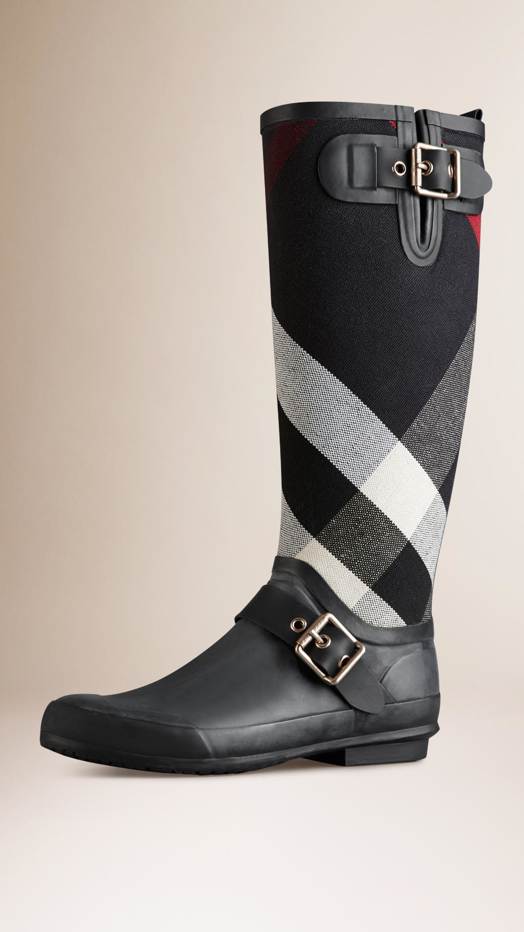Burberry Canvas Check Detail Rain Boots in Navy (Blue)