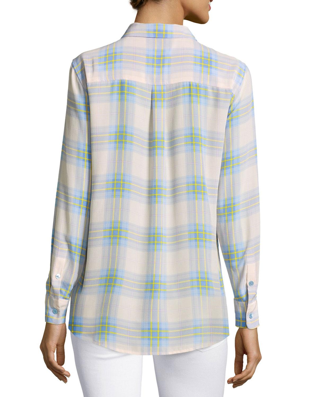 equipment slim signature long sleeve plaid silk shirt in