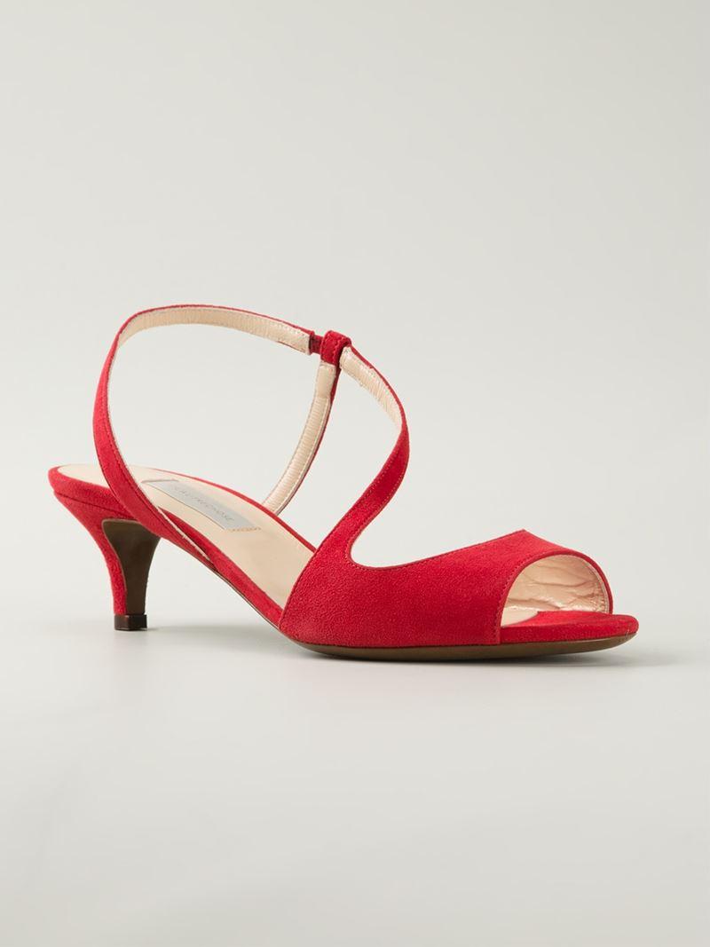 L'autre chose Kitten Heel Sandals in Red | Lyst