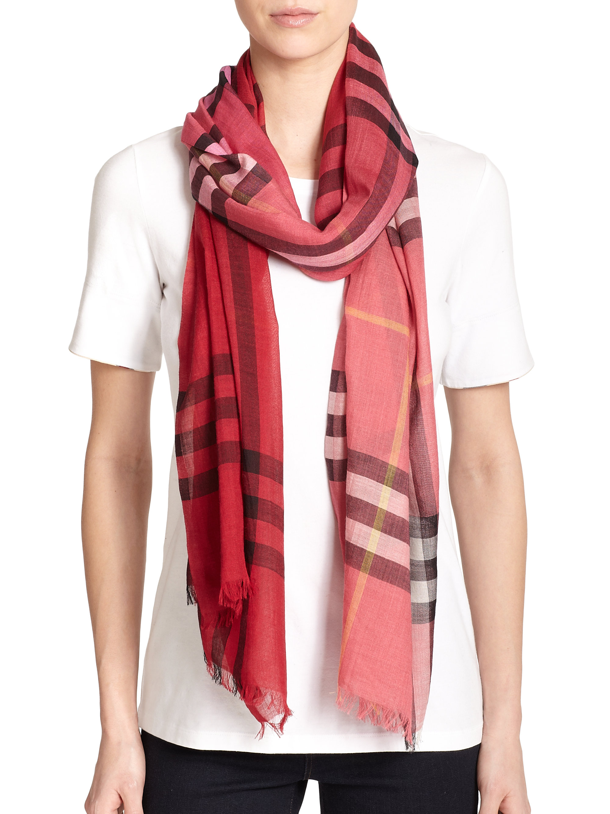 Burberry Ombru00e8 Giant Check Wool u0026 Silk Scarf in Pink : Lyst