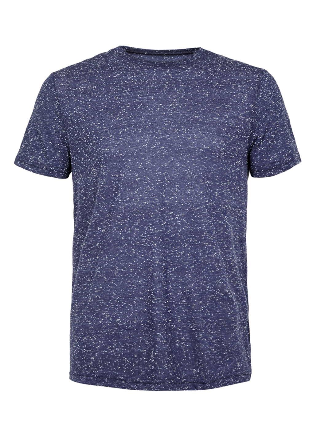 Topman Navy Neppy Slim Fit T Shirt In Blue For Men Lyst