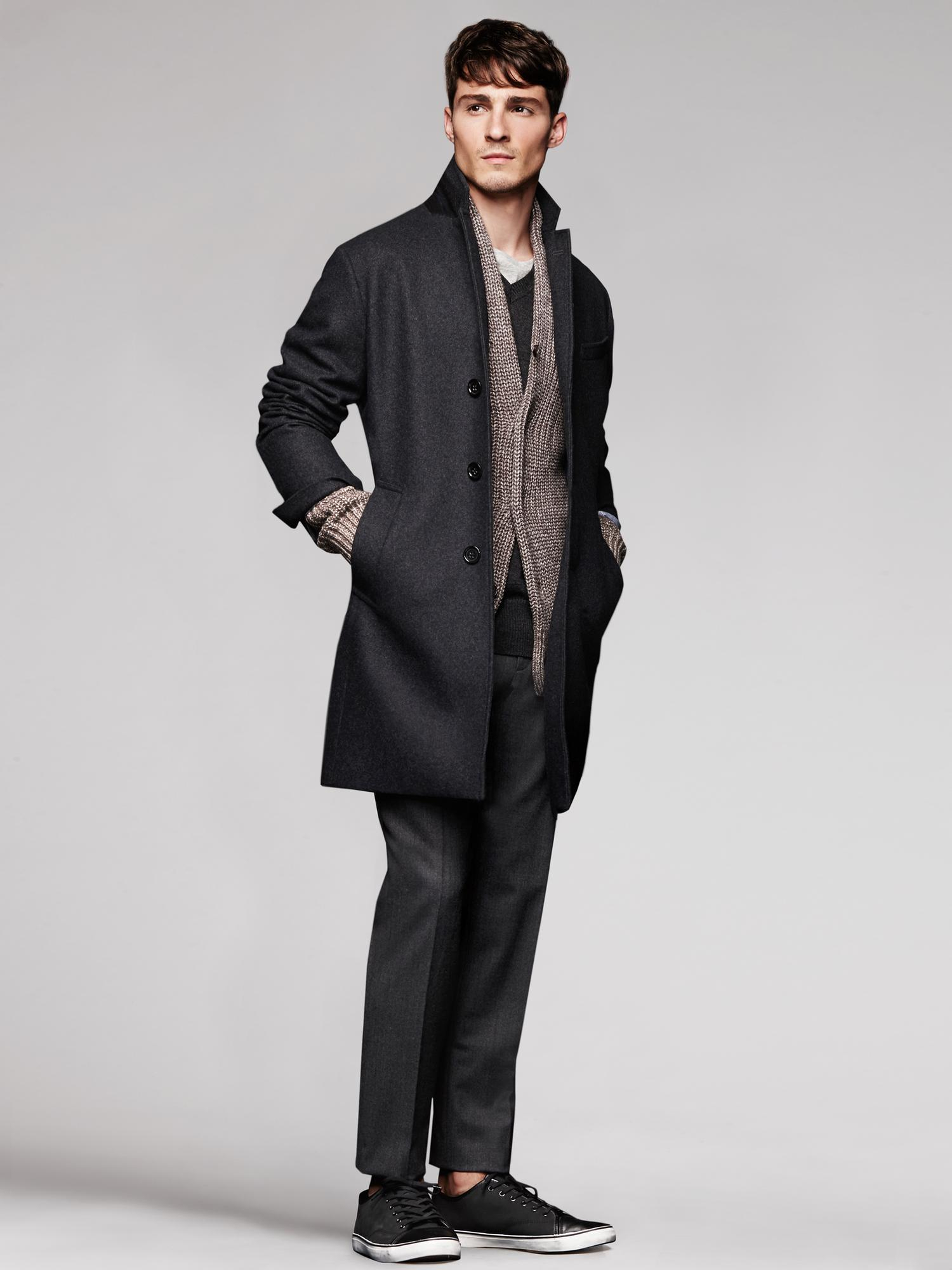 Banana republic Layered Topcoat in Gray for Men (Charcoal ...