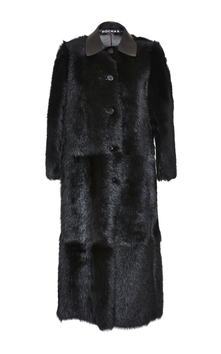 Rochas Lamb Shearling Coat in Black | Lyst