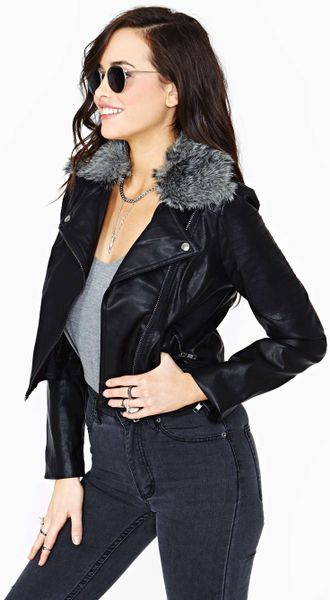 Nasty Gal Night Motion Faux Leather Moto Jacket in Black   Lyst