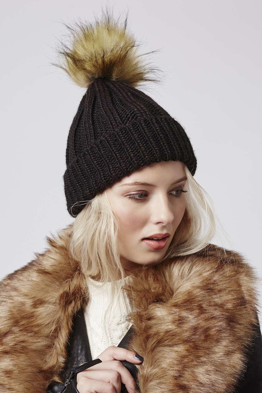 TOPSHOP Faux Fur Pom Beanie in Black - Lyst 064b58ce781