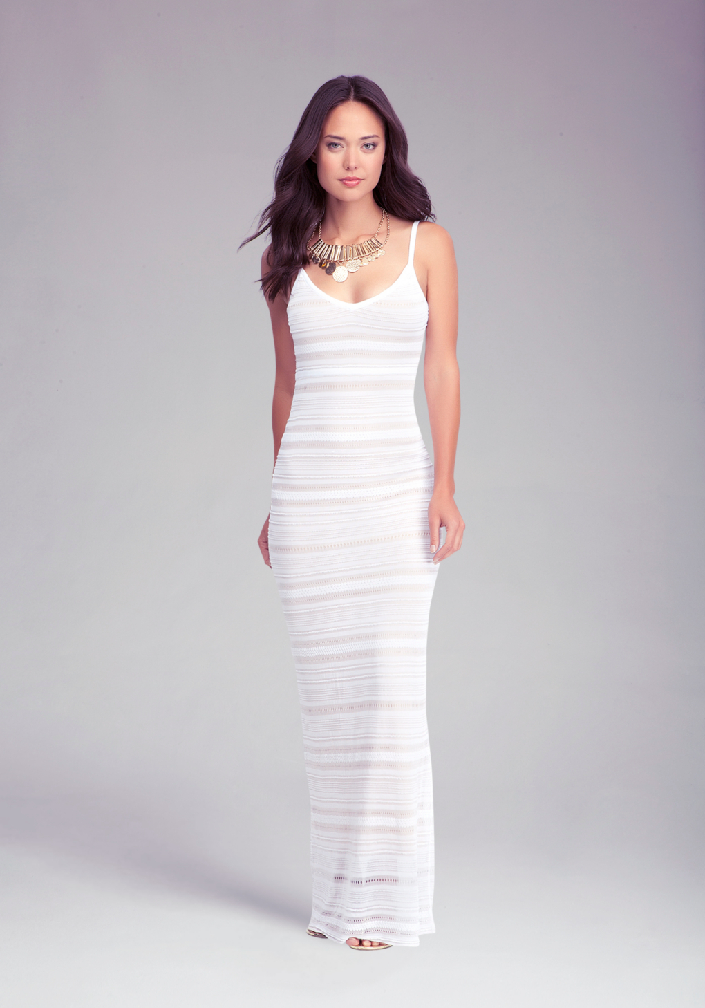 Bebe Mixed Stitch Maxi Dress In White Lyst