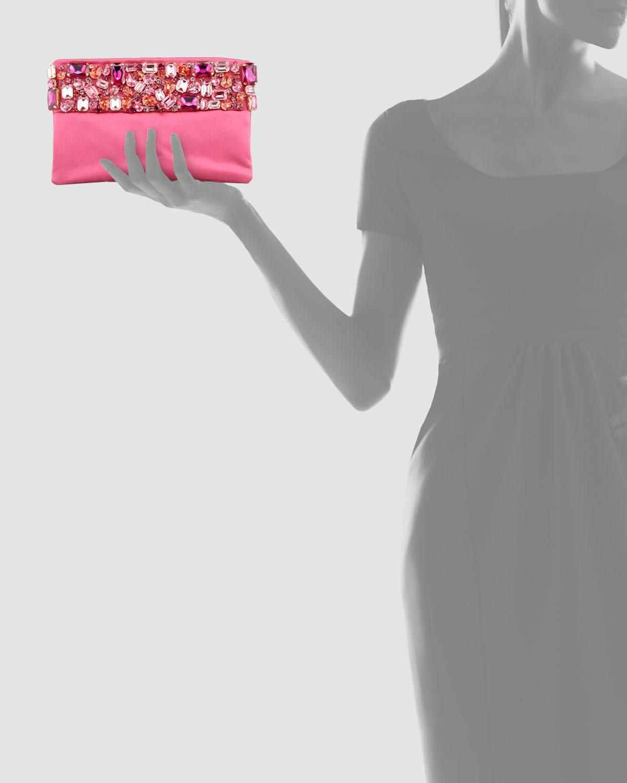 Prada Raso Jeweled Pochette Bag in Pink (Pink (Fuxia)) | Lyst