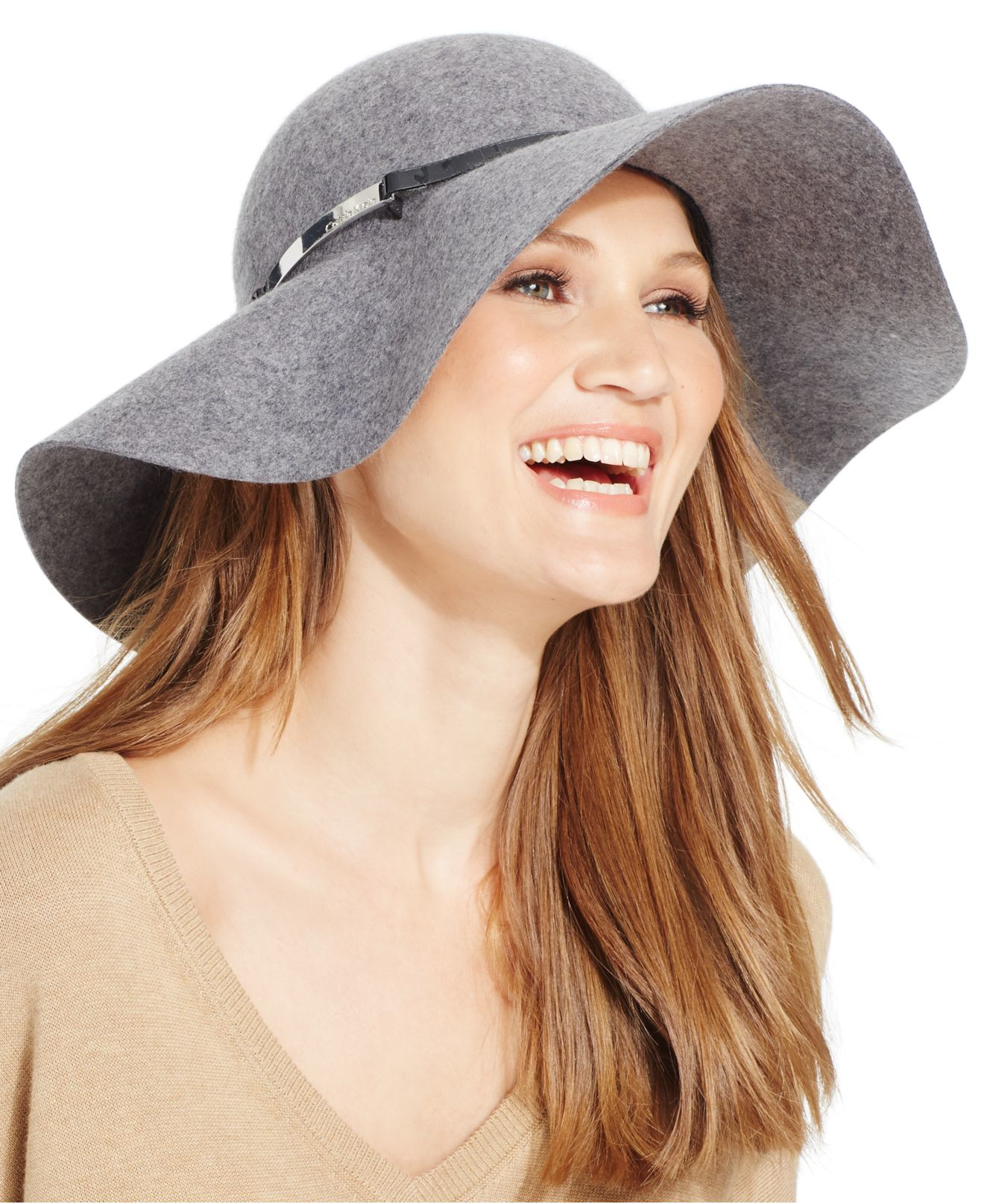 Lyst - Calvin Klein Wool Felt Floppy Hat in Gray 325932717ff