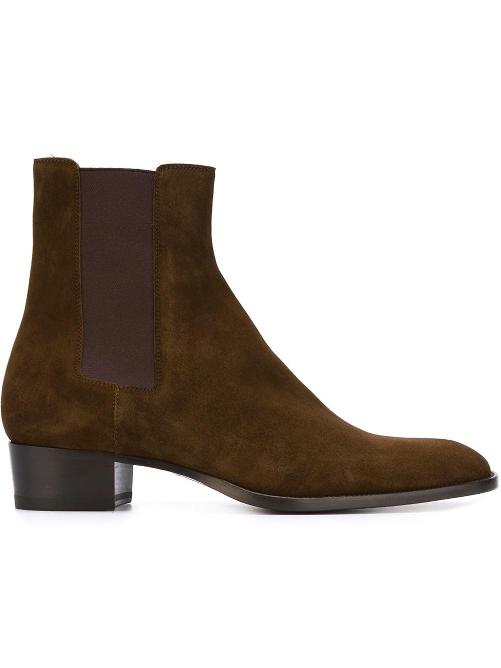 Saint Laurent Wyatt Ankle Boots In Brown For Men Lyst