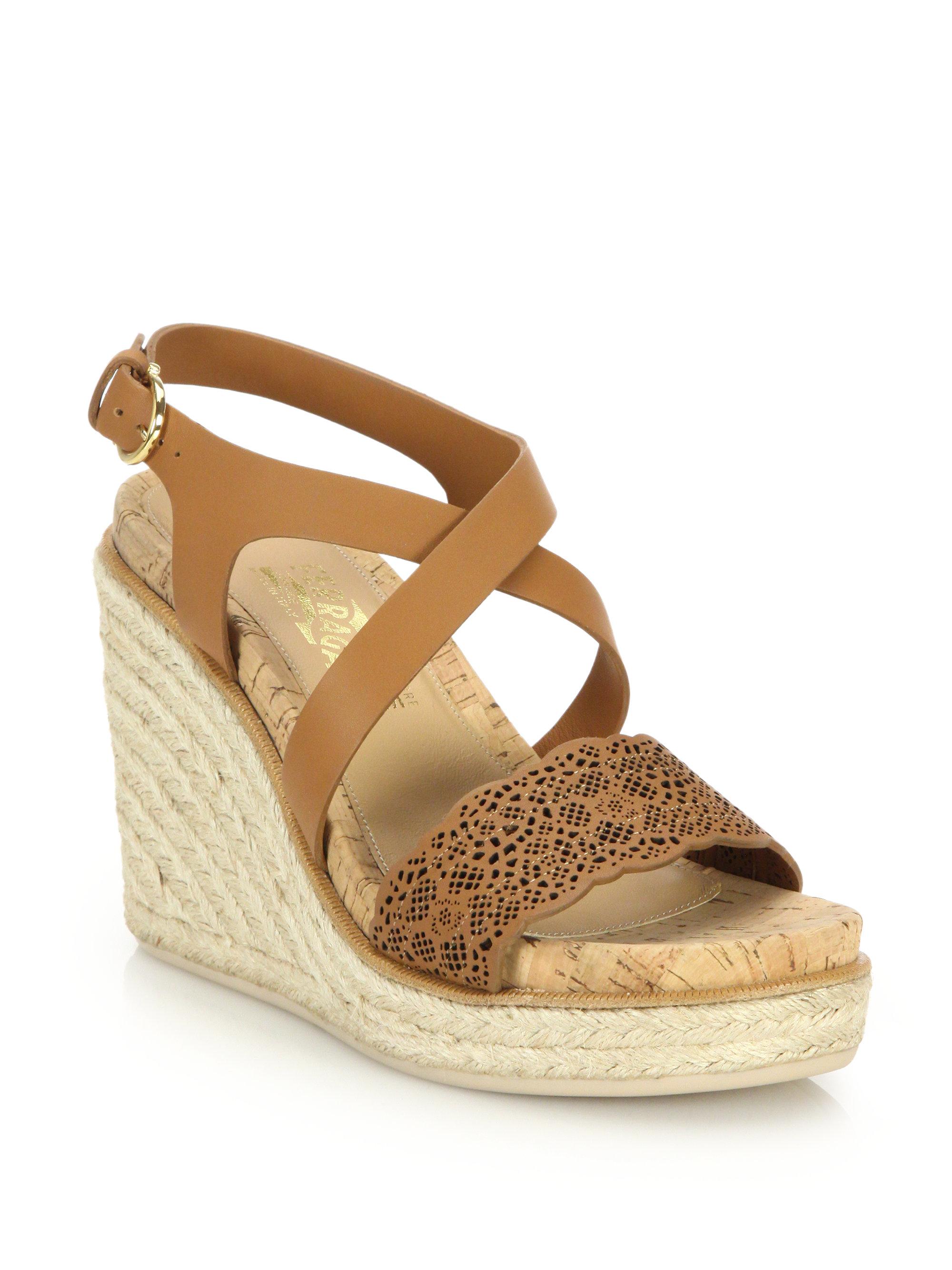Ferragamo Gioela Raffia Amp Leather Platform Wedge Sandals
