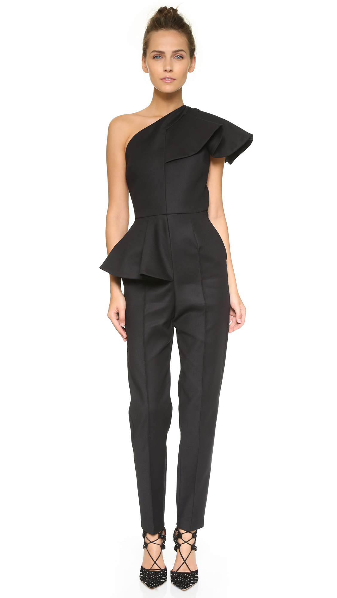 Msgm Ruffle One Shoulder Jumpsuit - Black in Black | Lyst