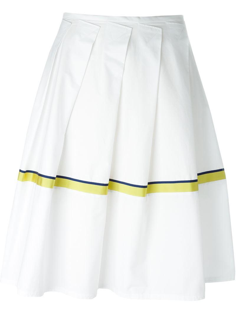 jil sander navy stripe detail pleated skirt in white lyst