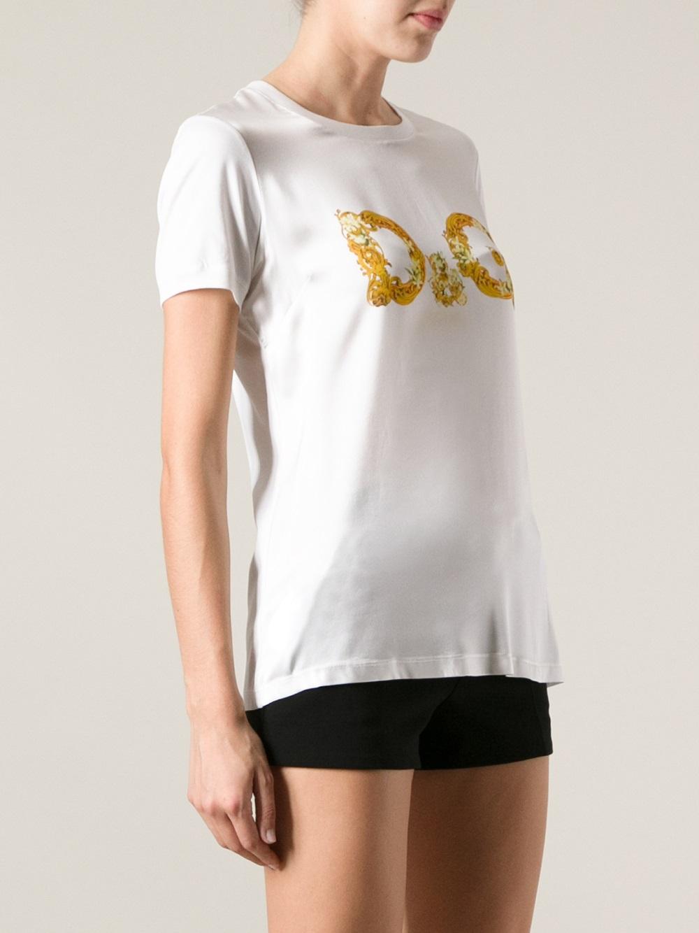 Dolce gabbana logo print tshirt in white lyst for Dolce gabbana t shirt women