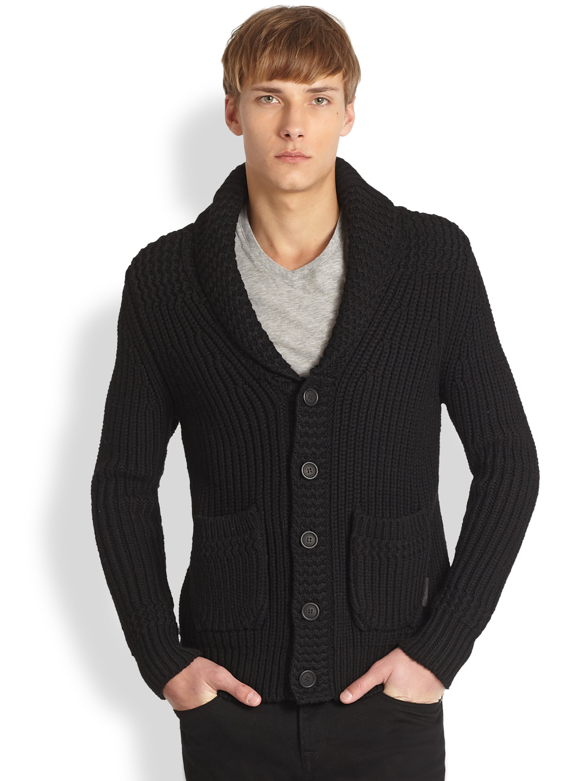 Burberry brit Thayer Shawl Collar Cardigan in Black for Men | Lyst