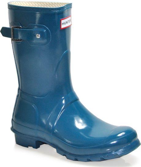 Hunter Original Short Gloss Rubber Rain Boot In Blue Lyst