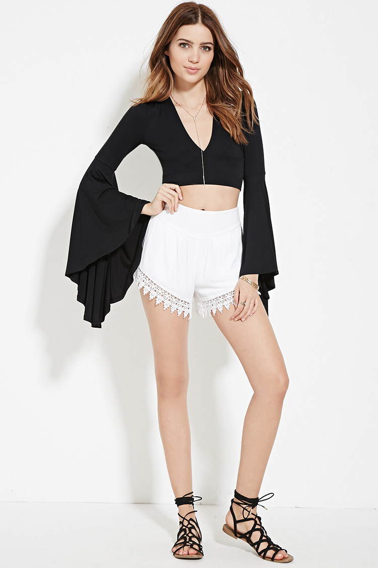 b8e079e685f43 Lyst - Forever 21 Bell-sleeved Crop Top in Black
