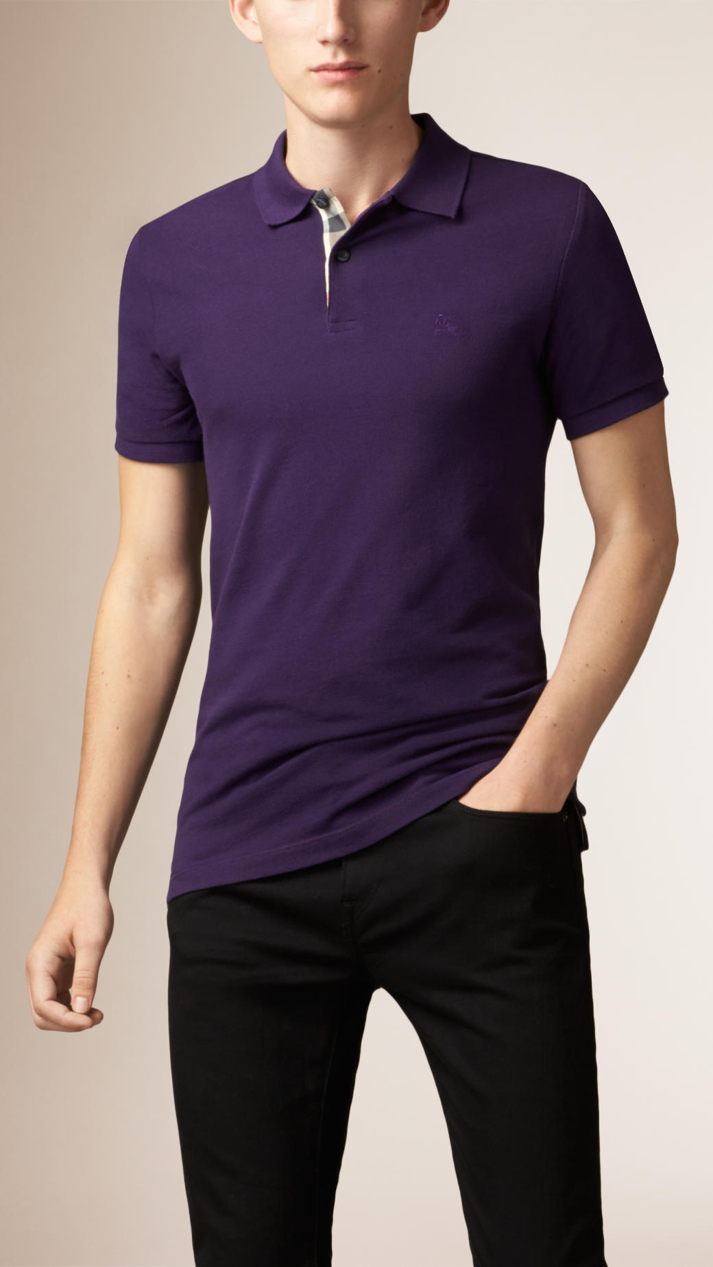 Burberry check placket polo shirt in purple for men lyst for Royal purple mens dress shirts