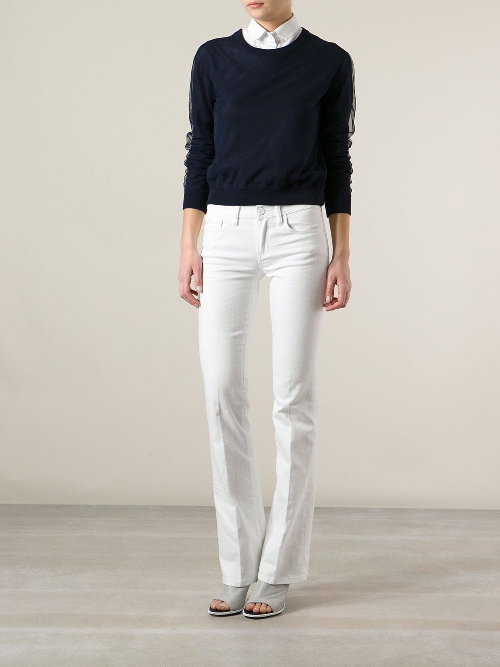 Tory burch Bootcut Jeans in White | Lyst