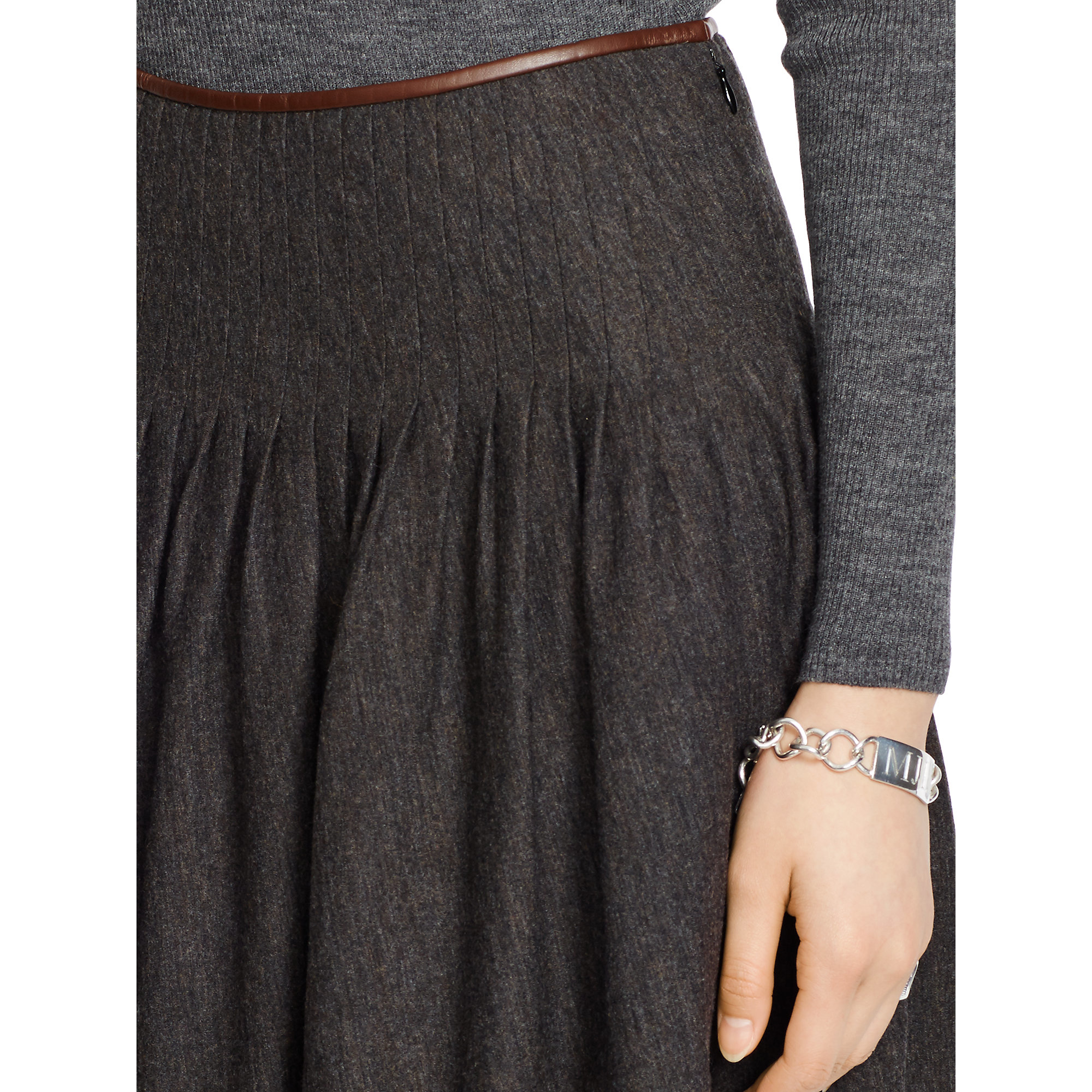 polo ralph leather trim pleated skirt in black lyst