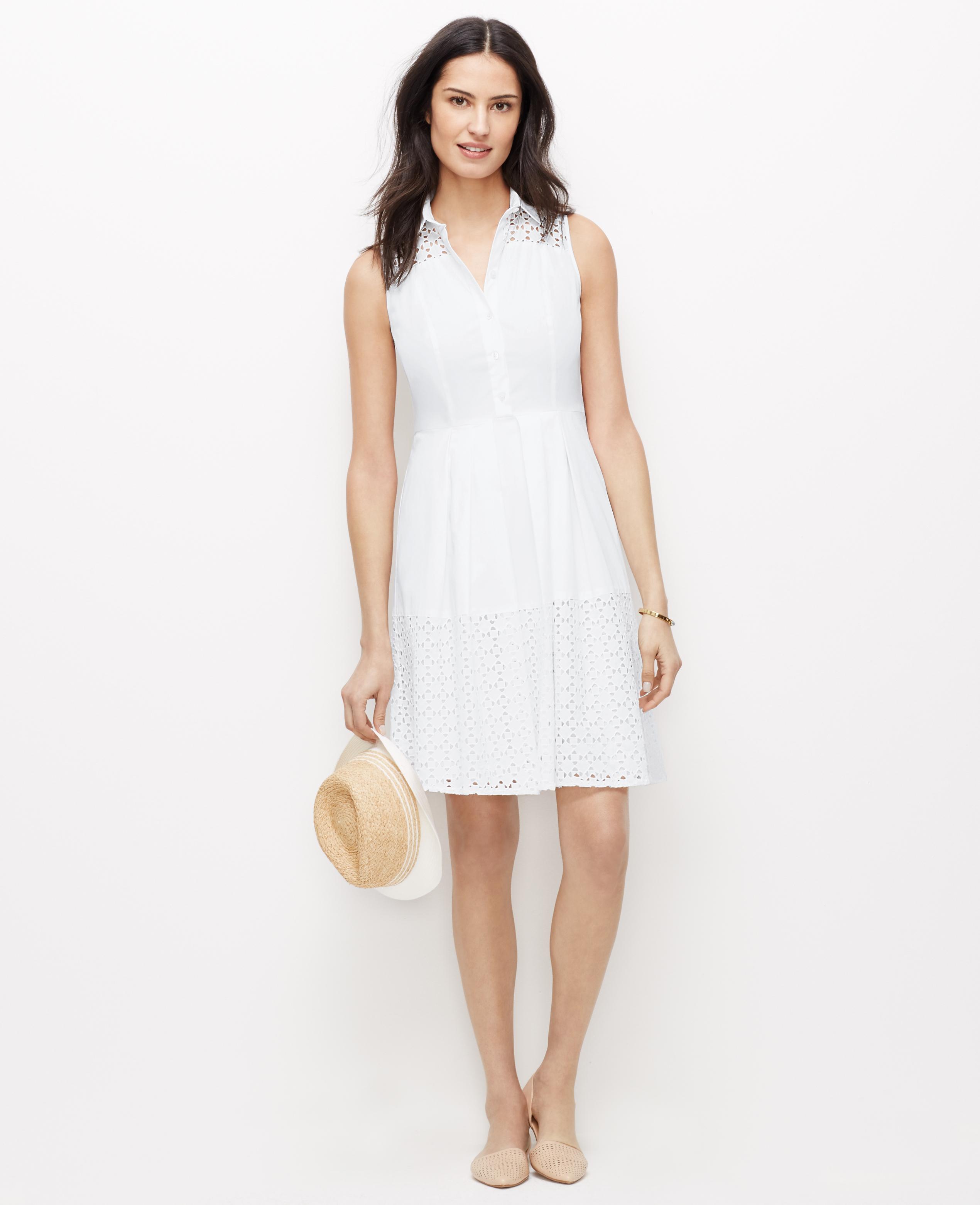 ba56c1320741 Lyst - Ann Taylor Petite Sleeveless Eyelet Shirtdress in White