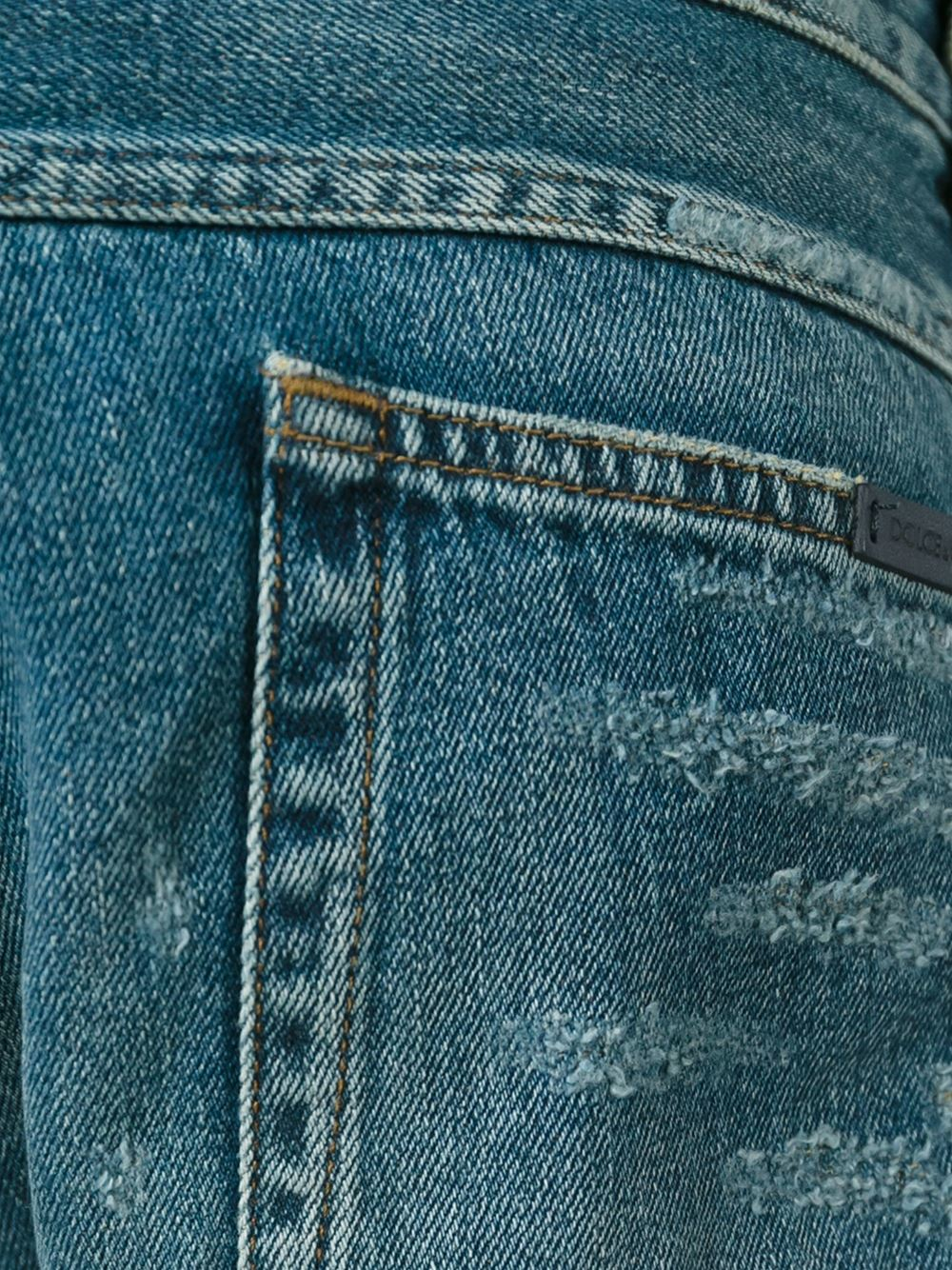 Dolce & Gabbana Denim Ripped Tapered Jeans in Blue for Men