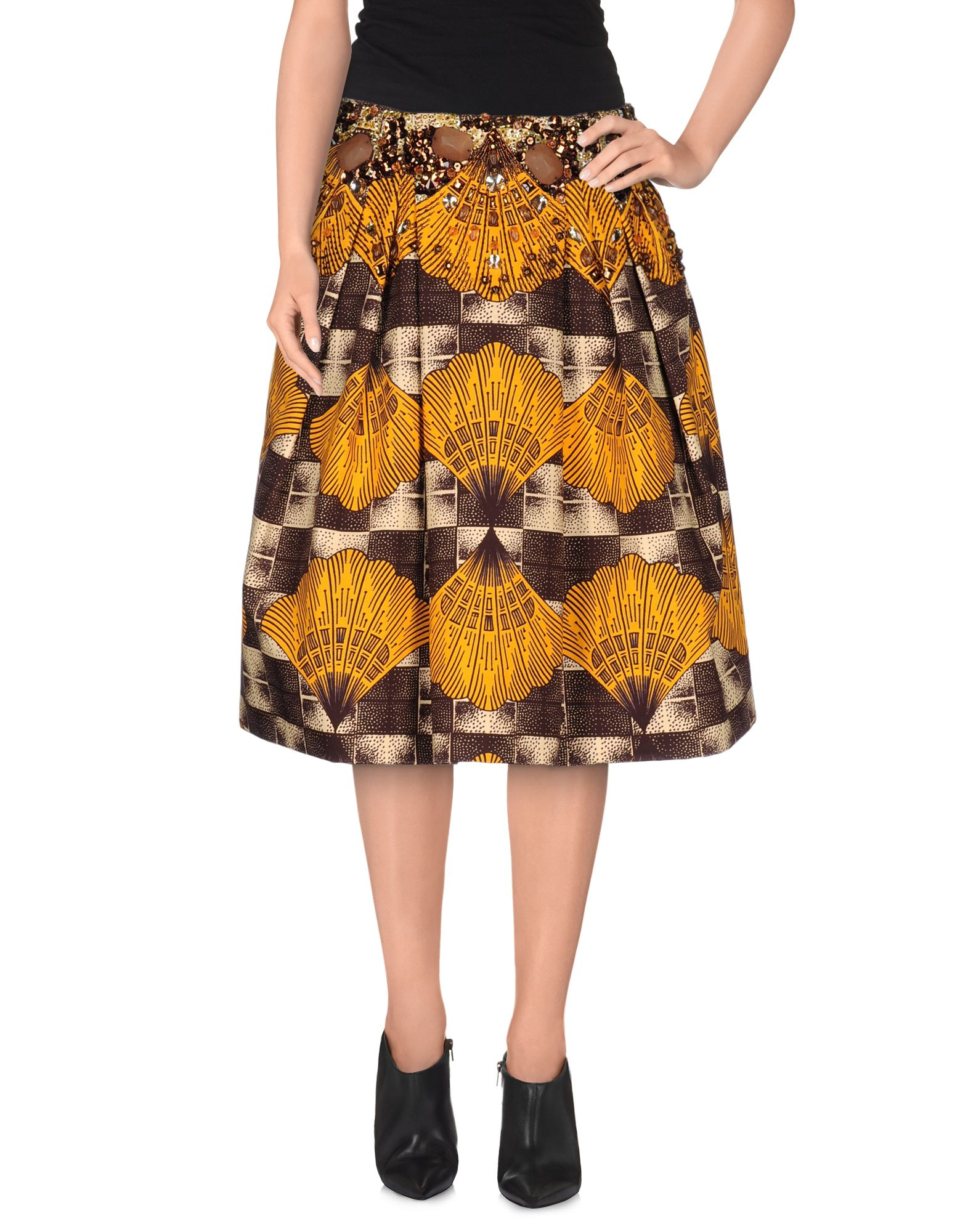 stella jean knee length skirt in orange lyst