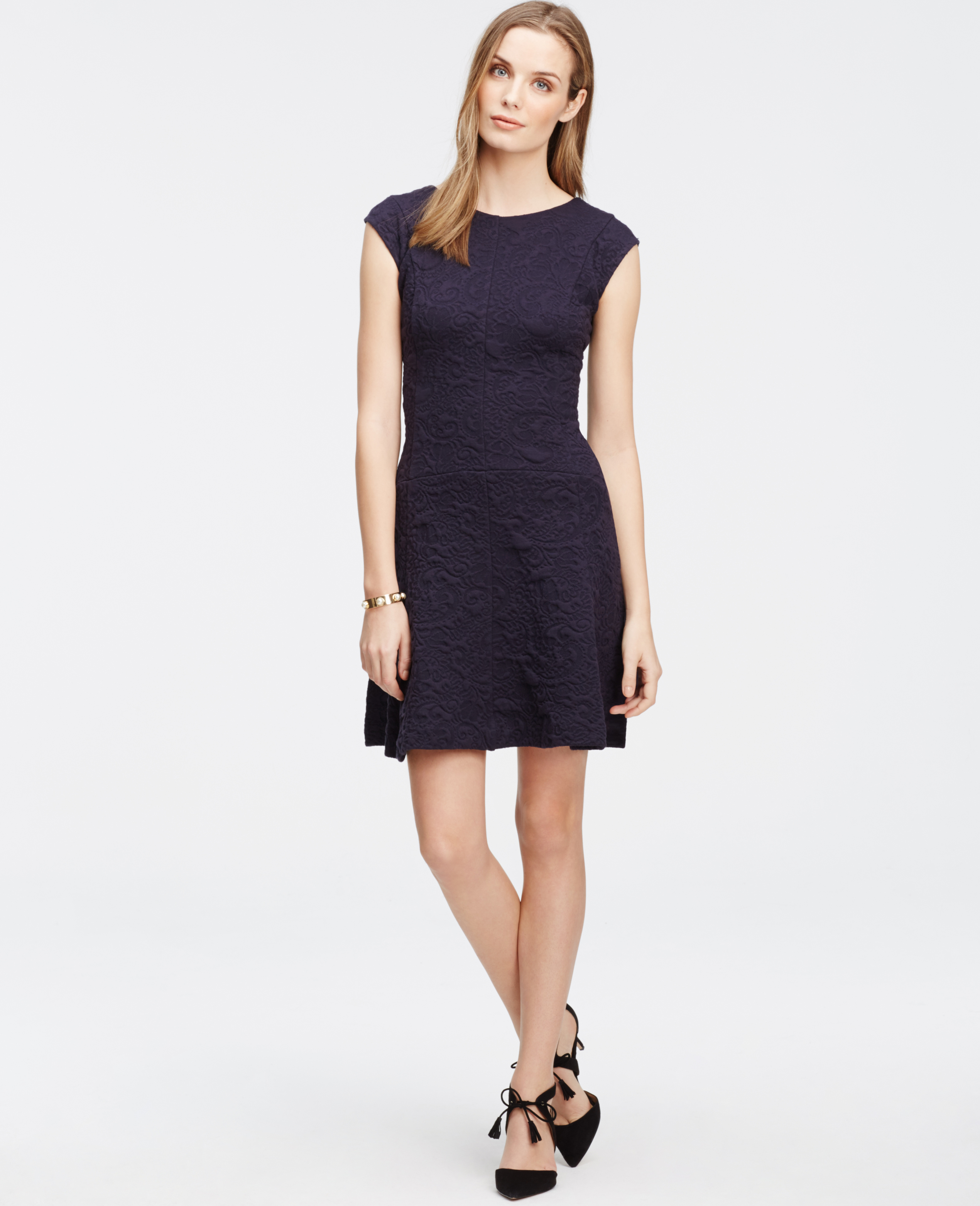 Ann Taylor Petite Jacquard Cap Sleeve Dress In Blue