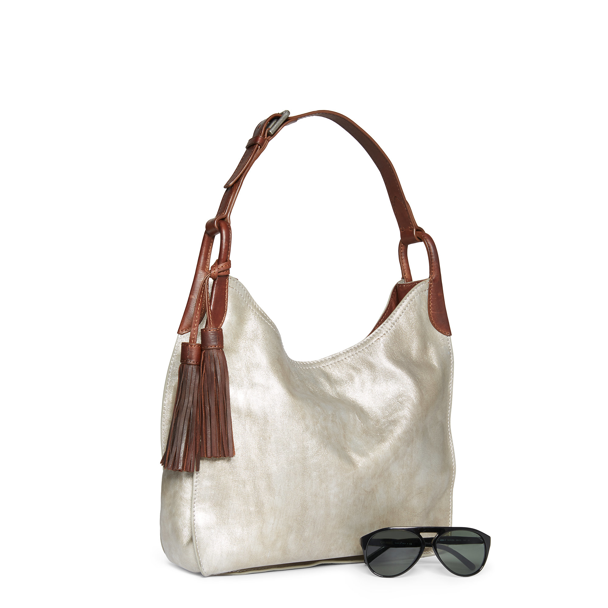 2c7b2dc692b Lyst - Polo Ralph Lauren Metallic Leather Hobo Bag in Metallic