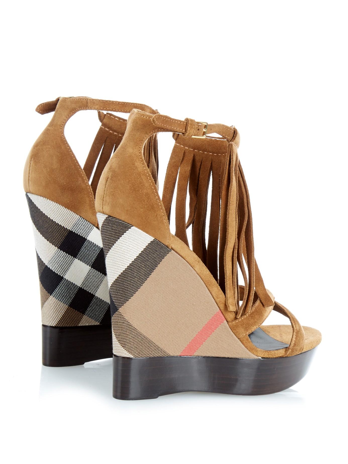 Gallery - Burberry Minstead Suede Fringed Wedge Sandals In Brown Lyst