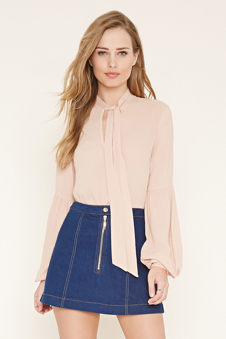 Pink Tie Neck Blouse 68