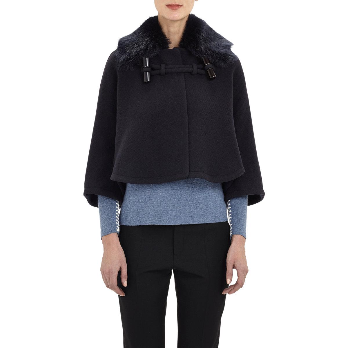 Chloé Shearling-collar Melton Swing Coat in Blue | Lyst