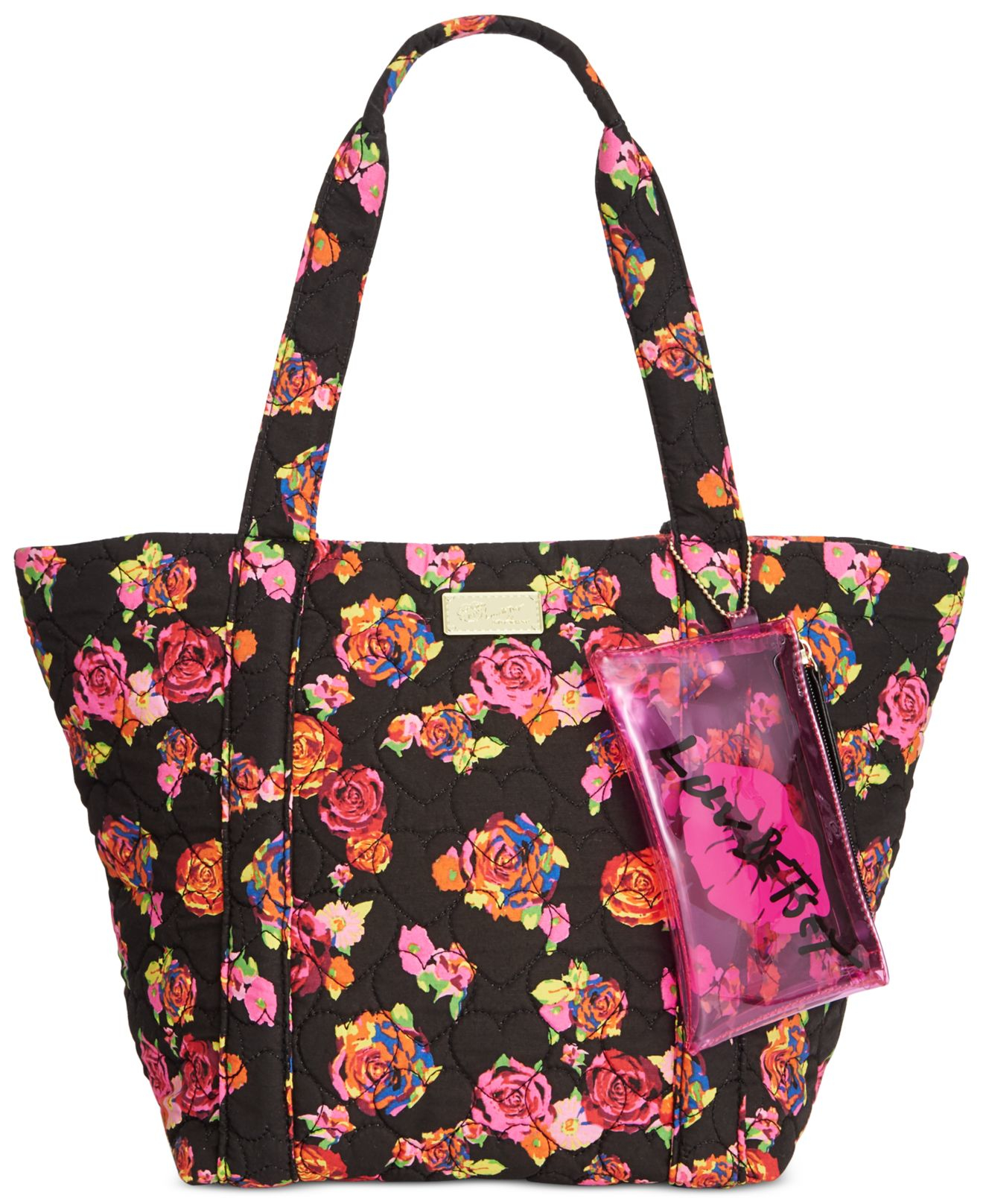 Lyst - Betsey Johnson Luv Betsey Floral Tote In Black