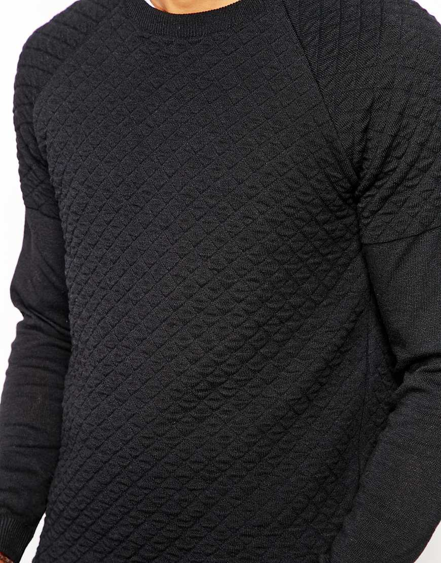 Lyst - Asos Quilted Jumper in Black for Men : quilted cardigan - Adamdwight.com