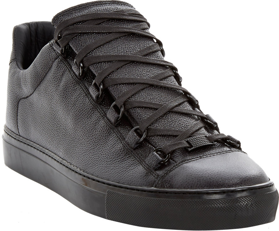 balenciaga arena low top leather trainers in black for men lyst. Black Bedroom Furniture Sets. Home Design Ideas