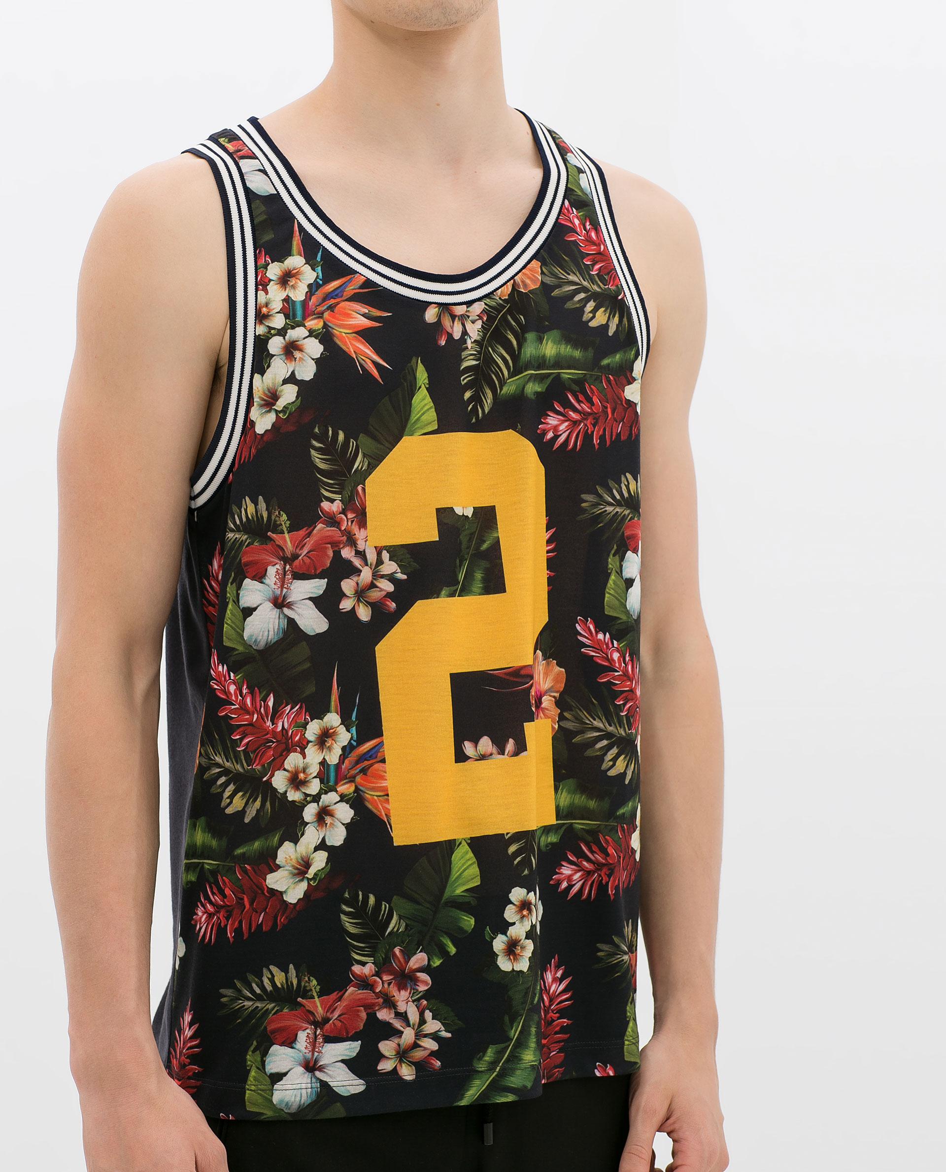 Zara floral tshirt with number in floral for men navy for Zara mens floral shirt