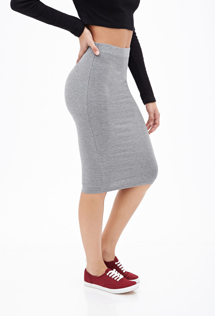 Forever 21 Classic Knit Pencil Skirt in Gray | Lyst