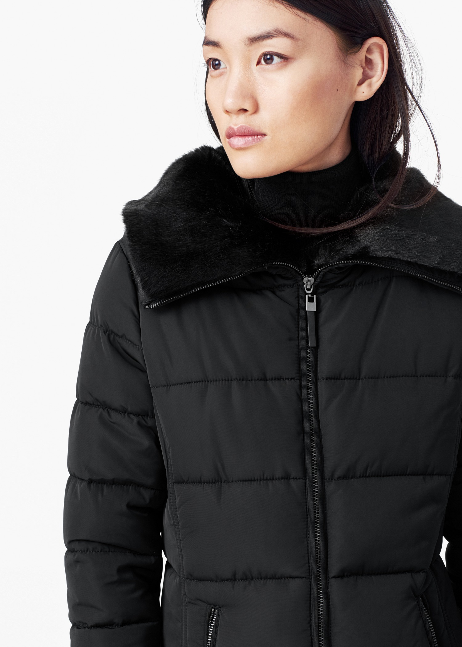 Mango Side-zip Quilted Coat in Black | Lyst