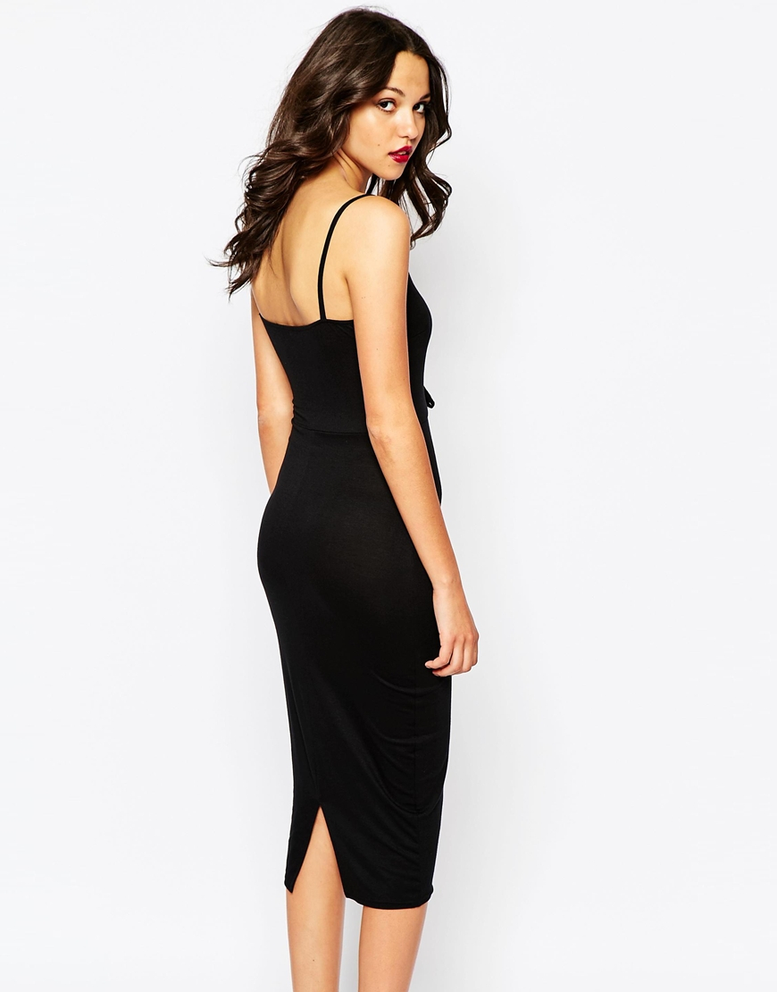 2ddac1e0a0e1 Lyst - Boohoo Strappy Midi Dress With Lace Up Detail in Blac factory  outlets 770d8 7aea0 .