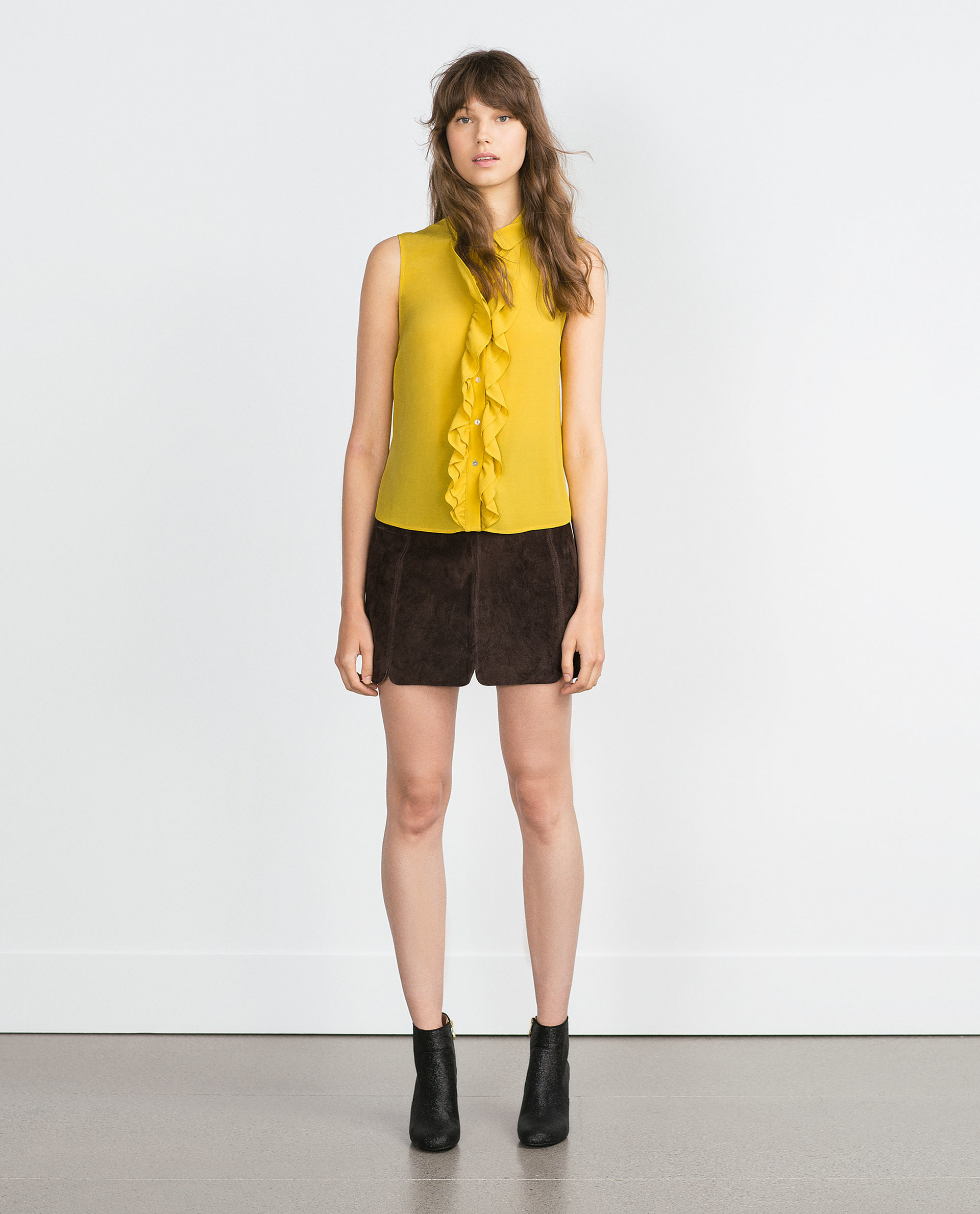 Zara Yellow Viscose Blouse 71
