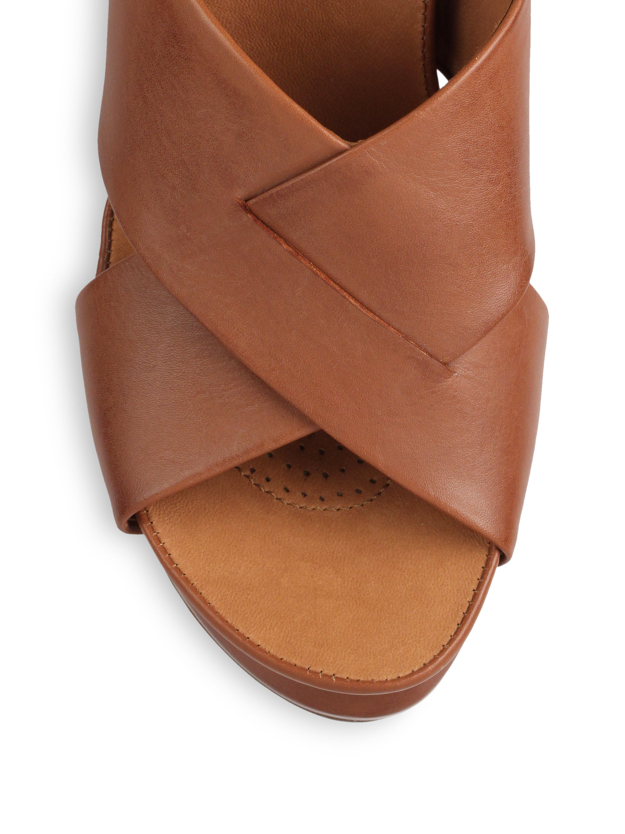 gentle souls leather wedge sandals in brown lyst