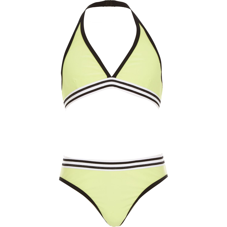 9d2f59c744236 River Island Girls Green Triangle Bikini Set in Green - Lyst