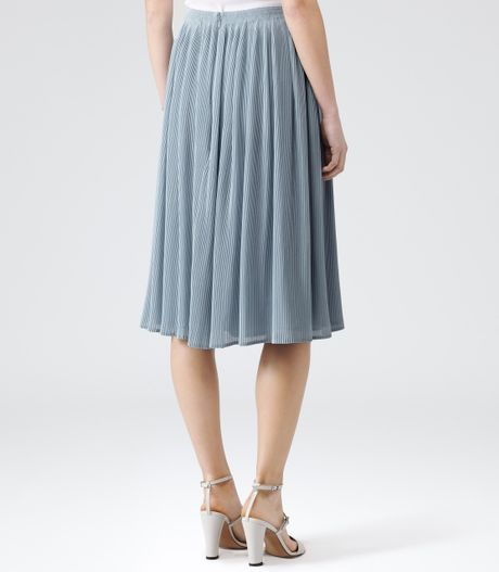 reiss helena micro pleat midi skirt in blue pale blue lyst