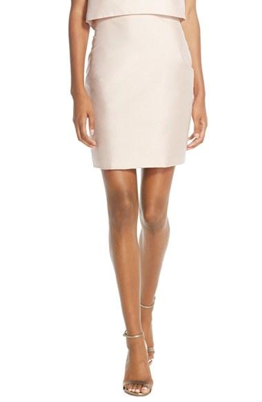 lhuillier bridesmaids taffeta pencil skirt in pink