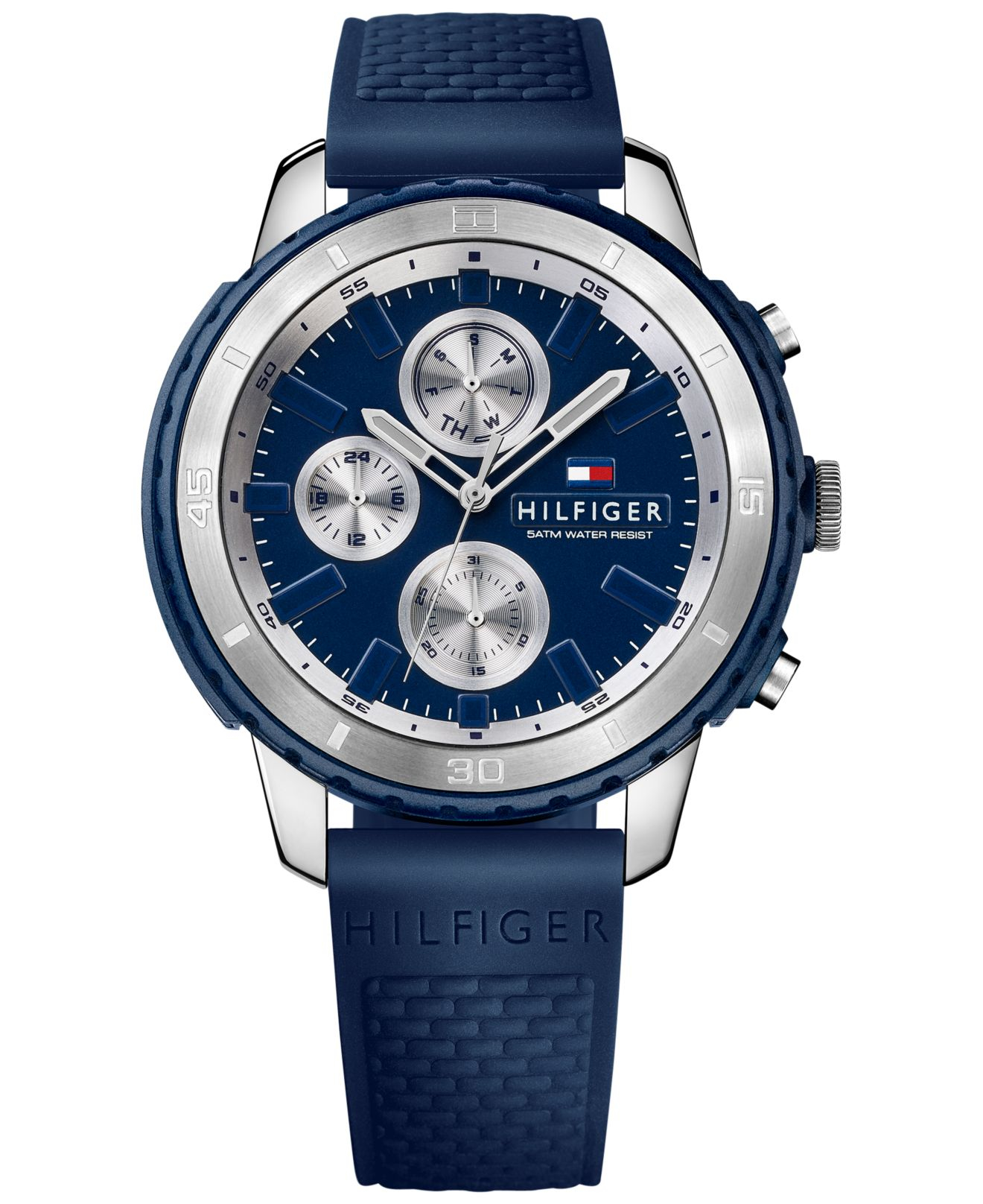 tommy hilfiger men s flynn blue silicone strap watch 47mm 1791193 gallery